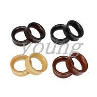 holztunnel piercing großhandel-Hohe Qualität Holz Ohr Tunnel Stecker Ohr Messgeräte Piercing Körperschmuck Größe 8-28mm.
