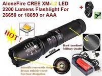 Wholesale Anodized Batteries - 1set USA EU Hot Sel E26 Hard anodized CREE XM-L2 2000Lumens 5-Mode CREE LED Flashlight Torch + 6800mAh 26650 Battery charger   mounts