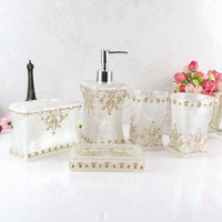 Wholesale White Dish Sets - Beautiful Butterfly Floral 5Pcs Resin Bathroom Accessories Set Soap Dispenser  Toothbrush Holder  Tumbler  Soap Dish White