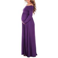 ingrosso gonne lunghe donne in gravidanza-Le donne, a tinta unita a maniche lunghe, le donne incinte a vita alta con risvolto spalla parola grembiule lunghe