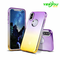Wholesale Wholesale Cell Phone Protection - For iphone X Case TPU Silicone Gradient Color Transparent Environmental protection PP material Luxury Protector For Apple Cell Phone Cases