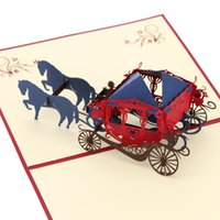 3D Handmade Pop Up Wedding Invitation Card Retro Paper-cut Aniversário Natal Ano Novo Postcard Carriage Pattern with Envelop