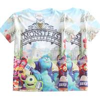 Wholesale Wholesale University Clothing - Boys Cartoon T-shirt Monsters University 3D printing fashion short sleeve shirt Children sports cotton clothes DHL free MOQ:40pcs SVS0311#
