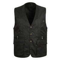 Wholesale Work Jackets For Men - Fall-100%Cotton Summer mens Suit Sleeveless Working Outwear For Men Outdoor Casual Multipocket Waistcoat Men Vest Photography Jacket