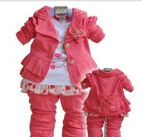 Wholesale Baby Girl Babywear - Toddlers' Autumn 3PCS Set Outerwear+T-shirt+Pants Hot pink Girls' Clothing CF 2012 Kids Clothes baby suits baby clothes babywear