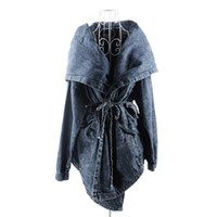 Wholesale Denim Trench Coat Jean Hoodie - Wholesale-HOT SALE trench coat women Denim Jean Trench Oversized Hoodie Outerwear Hooded Lady Coat