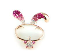 Wholesale Express Accessories Wholesale - 2015 New Arrival Crystal golden Luxury sweet pink Rabbit Brooch pins Rhinestone Accessories for Woman Cute jewelry Express Free