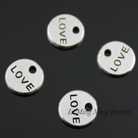 Wholesale Tiny Diy Accessories - 100pcs 9mm Zinc Alloy Double Side Tiny Love Charms Pendant Antique Bronze Silver DIY Retro Jewelry Accessories