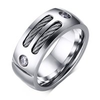Wholesale Stainless Steel R Jewelry - 2016 New European and American Fashion Jewelry Stainless Steel Men's CZ Rings Ring Avia Wholesale R-139