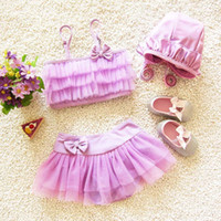 Wholesale Korean Beachwear - Child Sets Beachwear Korean Girls Swimsuit Baby Swimwear 2016 Children Swimwear Kid Lace Princess Bikini Kids Bathing Suits Lovekiss C22369