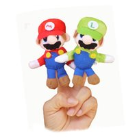Wholesale Mario Puppets - 12SET lot Plush finger toy baby Kids Talking Props Puppets,educational toys children-SUPER MARIO BROS