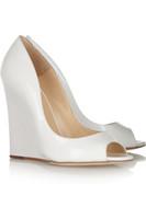 Wholesale Thick Platform Wedge Sandals - White Wedding Shoes Wedge Peep Toe Patent Leather Slip-ons Women Sandal Sandalias Femininas Salto Alto 2015 Thick Platform High Heels