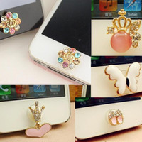 Wholesale Iphone 4s Bling Butterfly - 5 Different Styles New Crystal Crown Drop Butterfly Shoes Bling Diamond Home Button Sticker for iPhone 4s 4 5 ipad