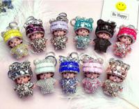Wholesale monchichi dolls - Cute Monchichi sleutelhanger keychain Crystal Rhinestone KIKI Dolls Key chain ring Car women bag jewelry pendant porte clef