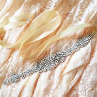 Wholesale Men Wedding Flower Accessories - 2018 S123 Crystal Rhinestones Evening Party Prom Dresses Accessories Wedding Belt Sashes,Bride Waistband Bridal Sashes Belts