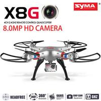 modlu rotor toptan satış-Orijinal Syma X8G 2.4G 6 Eksen Gyro 4CH RC Quadcopter Başsız modu Profesyonel 5MP Kamera helikopter ile Drones Helikopter