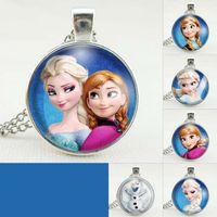 Wholesale Wholesale Gems Accessories - 2015 fashion Frozen Elsa Children Time gem sweater chain Girls necklace Kids accessories C8293