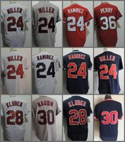 Wholesale Baseball Joe - Cleveland #24 Manny Ramirez 28 Corey Kluber 30 Joe Carter 30 Tyler Naquin 36 Gaylord Perry Blue White Red Throwback Stitched Jersey