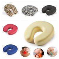 Wholesale Types Cushions Pillows - 5 Colors New Multi-function Neck Pillow U Type Neck Slow Rebound Memory Pillow Travel Nap Health Care Cervical Cushions CCA7929 50pcs