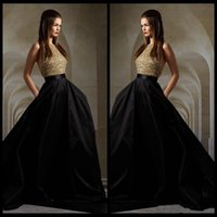 Wholesale Evening Halter Top White Gowns - Sexy Gold Top Bodice Sequin and Black Skirt Evening Dresses 2016 Halter Backless Formal Evening Gowns Hi-Lo Train Elie Saab Prom Dresses