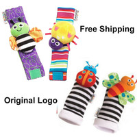 Wholesale Plush Rattle - Hot Lamaze Garden Bugs Wrist Rattle Foot Finder Baby Set Plush baby toys Educational toy High Contrast Free Shipping Christmas Xmas Gift 10p