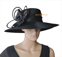 Wholesale Dresses For Races - New black Wide brim big All Year Around Church Dress Formal Hat for Kentucky derby,melbourne cup,ascot races,Wedding.