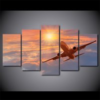 Wholesale Sunset Canvas Art Framed - HD Printed 5 Pieces Canvas Art Painting Sunset Airplane Poster Sunset Cloud Wall Pictures For Living Room Free Shipping CU-2781C