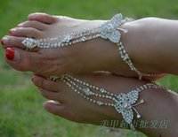 Wholesale Handmade Barefoot Sandals - 2017 Bohemian Bridal Accessories Beach Wedding Barefoot Sandals Handmade Brides Feet Jewelry Anklets Chains Butterfly Crystals Beading