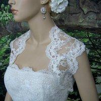 Wholesale Cheap Ivory Lace Shawl - New Style Wedding Shawl Jacket White Ivory Black Wedding Jacket Appliques Bridal Accessories Cheap Lace Bolero Bridal Wrap Custom Made 2016