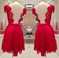 Wholesale Mini Silk Ribbon Brooch - In Stock Luxury Short Red Prom Party Dress High Quality Knee Length Backless Custom Parti Events Special Mini Evening Vintage Cocktail Gowns