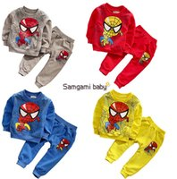 Wholesale Spiderman Baby Suit - spiderman outfits Samgami Baby Cartoon children outfits Spiderman homewear 2pcs set Spiderman casual suits sports suits for kids D220 4