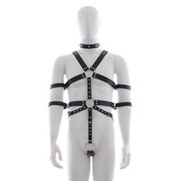 Wholesale Male Fetish Collar - Male slave fetish harness with handcuffs Collar collares pulseiras