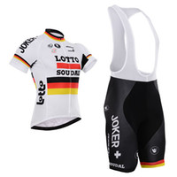 Wholesale Germany Wear - Short Cycling Kit LOTTO TEAM GERMANY FLAG Bike Jersey Bib Shorts with Gel pad Short Sleeve Bicycle wear maillot ciclo jersey