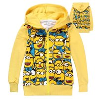 Wholesale Despicable Clothes For Children - children minions hoodies sweatshirts long sleeve hoodie zipper despicable me hoodies for kid Cartoon Outerwear Spring Autumn Clothing
