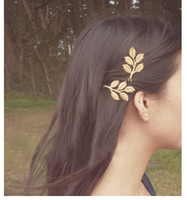 Wholesale 1 Textured Olive Leaf Hairpin Bridal Jewelry Hair Clip Gold