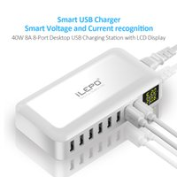 Concentrador De Puertos Usb Inteligente Baratos-¡¡1 PIEZA!! Hot Smart 8A USB Traveling Charger Display LCD 8 puertos de alimentación Hub de alta velocidad múltiple adaptador powerbank inalámbrico para teléfono Android