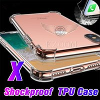 Wholesale Case Epacket - For Iphone X 8 plus Samsung S8 plus case Shockproof Tpu Case Back Cover Transparent Soft Thicken Clear Gel Rubber Bulky Corners Free ePacket