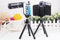 kamera tripodu çantaları toptan satış-12X Zoom Teleskop mobil Kamera Lens Kiti Tripod iPhone 6 4.7 inç iPhone 6 Için Artı 5.5 inç