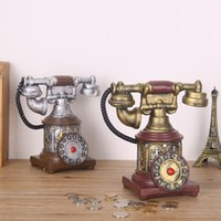Wholesale Old Antique Telephones - Retro Vintage Rotary Telephone Statue Antique Shabby Chic Old Phone Figurine Home Desk Decoration Gift Piggy Bank Resin Crafts