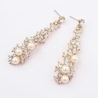 Wholesale Dangling Crystal Ear Cuffs - Fashion full rhinestone crystal pear drop Dangle Earrings elegant delicate Rhinestone pearl earring