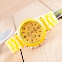 Wholesale Jelly Watches Designer Brands - 40%off!!!Hot sale Geneva New 2015 Luxury Fashion Designer Ladies sports brand silicone jelly watch DHL Free shipping