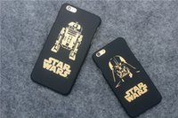 Compra Caso Darth Vader Iphone-Star Wars 7 per iPhone6s più iPhone 6S Darth Vader R2D2 C3P0 Star Wars Telefono cassa in oro Carattere glassa PC Hard Back Cases copertura MM051b