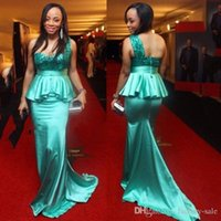 Wholesale Cheap Turquoise Dress Straps - 2017 Cheap Evening Gowns Sexy Backless One Shoulder Turquoise Sequins Beading Robe De Soiree Long African Formal Party Gowns Prom Dresses