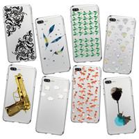 Wholesale wholesale gun cases - Phone Case Gold Gun Diamond Feather Pattern Soft Case For Iphone X 8 8PLUS 7 7PLUS 6 Samsung S8 S8PLUS S7EDGE