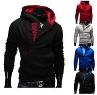 одежда для куртки оптовых-2016 новая мужская одежда письма удар цвет человек флис сторона молния толстовки кофты куртка свитер Assassins creed