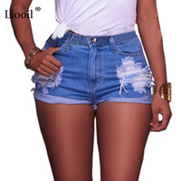 Wholesale Womens Sexy Denim Shorts - Liooil 2017 New Style Summer Shorts Sexy Hole Mid Waist Skinny Booty Shorts Casual Pockets Hollow Out Denim Womens Shorts q171118