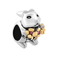 Wholesale Bunny Charm Bead - Personalized jewelry crystal flower Easter bunny Rabbit European bead metal charm ladies bracelet with big hole Pandora Chamilia Compatible