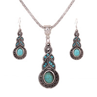 Wholesale Bohemian Earrings Shop - 925 Silver Plated Chain Turquoise Crystal Calabash Charm pendant Earrings Necklace Set Women Vintage Jewelry free shopping