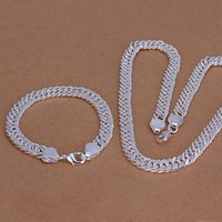 Wholesale New Model Necklace - High grade 925 sterling silver B10M whole side bracelet necklace - male models jewelry set DFMSS141 brand new Factory direct 925 silver