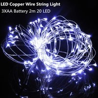 Wholesale Sparkling Lights Battery Operated White - 2M 20 LED String Mini LED Copper Wire String Light AA Battery Operated Fairy Party Wedding Christmas Decoration Light Flashing Sparkle Light